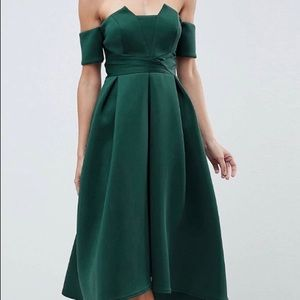 Bardot pleated waist scuba dress